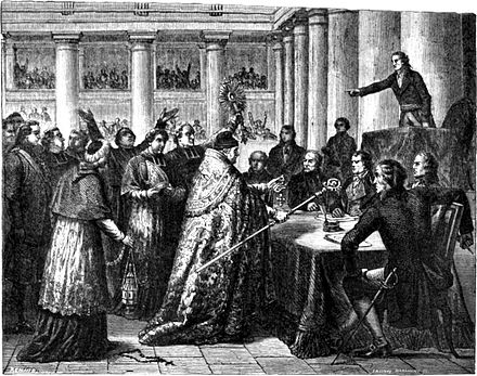Leaders of the Catholic Church taking the civil oath required by the Concordat FrenchChurchOathConcordat.jpg