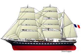 Belem (ship) - Line art of Belem