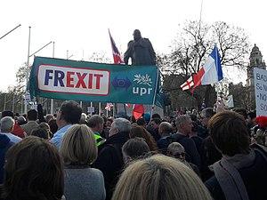 Militants de l'Union populaire républicaine présents à Londres pour soutenir le Brexit.