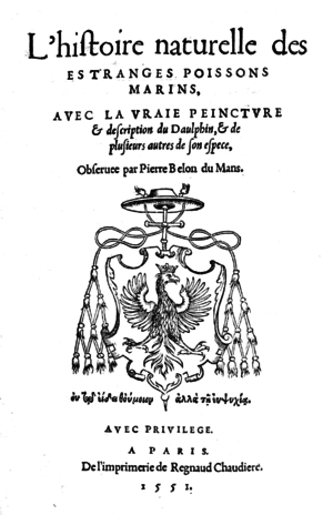 Pierre Belon - Cover of Natural history of Fishes, 1551