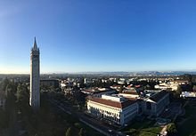 View of campus from Evans Hall, as San Francisco and Oakland are seen in  the background