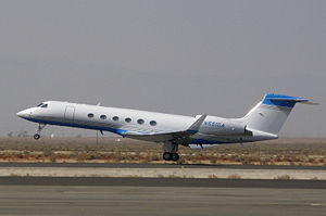 Amgen - Amgen's corporate Gulfstream V departs Fox Field, Lancaster, California