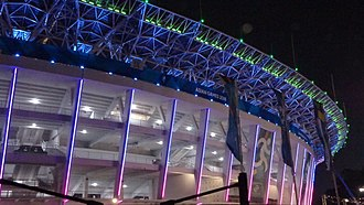 Gelora Bung Karno Stadium - During the 2018 Asian Games, the stadium was covered in changing colors LED lights.
