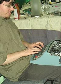 A photo of Gable typing