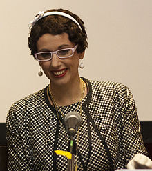 Gail Carriger at the Multicultural Steampunk Panel, Eastercon 2012.jpg