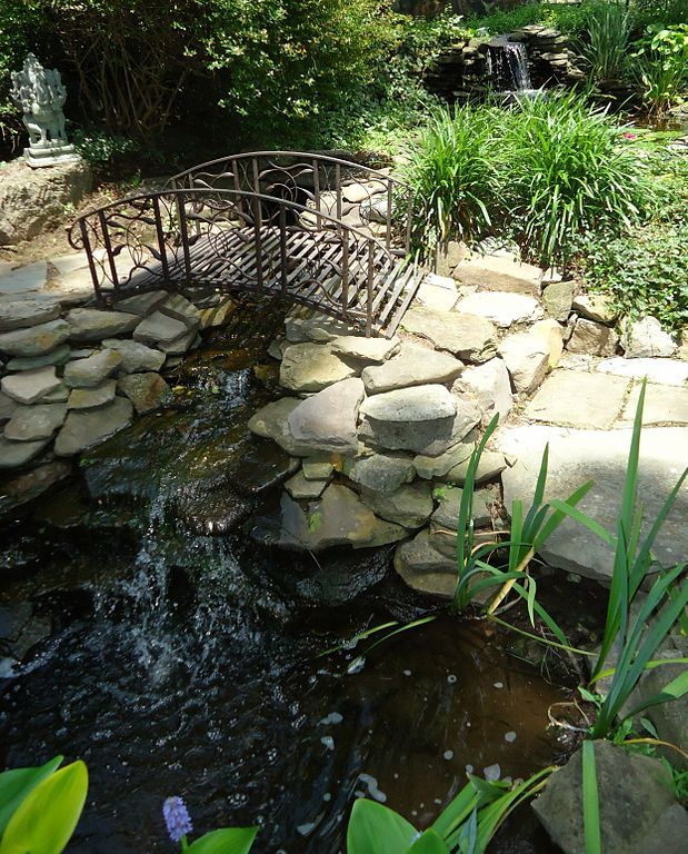 File garden pond with waterfalls and bridge and for Garden pool dimensions