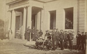 J. W. Lonoaea - Gatling guns and soldiers landed to quell the violent mob during the 1874 election riot