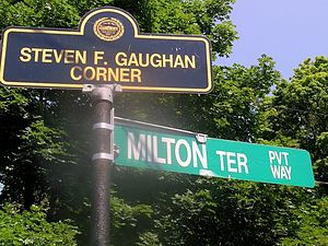 Steven F. Gaughan - Street sign denoting the Steven F. Gaughan Corner.