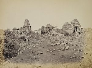 Ghumli - Ruined temples at Sonkansari pond, Ghumli, 1874