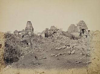 Ghumli - Ruined temples at Sonkansari pond, Ghumli, 1874