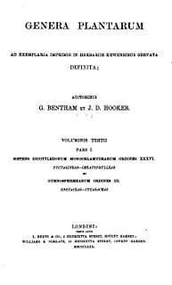 Bentham & Hooker system System of plant classification by Bentham and Hooker