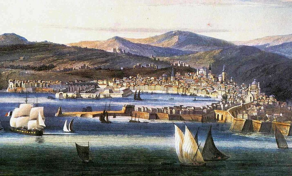 Vue du port de Gènes en 1810 - Illustration d'Ambroise Louis Garneray