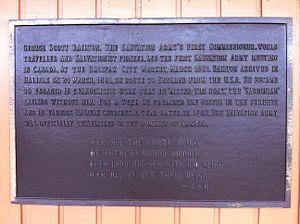 George Scott Railton - Railton held 1st Salvation Army meeting in Canada, Plaque, Halifax, Nova Scotia