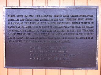 George Scott Railton - Railton held 1st Salvation Army meeting in Canada, Plaque, Halifax, Nova Scotia