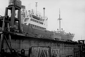 German cargo ship Bernhard Howaldt in the dock of the Bremer Vulkan shipyard in March 1958.jpg