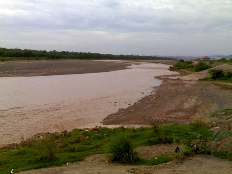 Ghaggar river flowing through Panchkula in Haryana in North India - Ghaggar-Hakra River