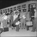 Gila River Relocation Center, Rivers, Arizona. Evacuees returning to their former homes in Californ . . . - NARA - 539827.tif