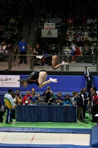 Trampolining - Female synchronized trampoline performance