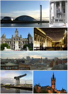 Clockwise from top-left: View of Glasgow Science Centre, Duke of Wellington statue outside Gallery of Modern Art, Royal Exchange Square, cityscape view from The Lighthouse, Gilbert Scott Building of جامعة غلاسكو, Finnieston Crane, Glasgow City Chambers