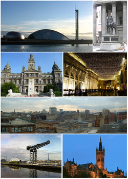 Clockwise from top-left: View of Glasgow Science Centre, Duke of Wellington statue outside Gallery of Modern Art, Royal Exchange Square, View from The Lighthouse, Gilbert Scott Building of University of Glasgow, Finnieston Crane,  City Chambers