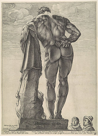 Farnese Hercules - The Farnese Hercules, engraved by Hendrick Goltzius, 1591, two onlookers give scale
