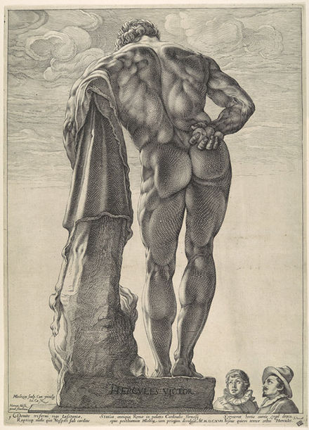 "The ""Farnese Hercules"", engraving by Goltzius GoltziusFarneseHerc.jpg"