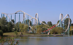 Goudurix - The ride viewed from the lake, as seen before its change in colour scheme.