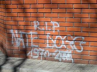 Nate Dogg - Graffiti devoted to Nate Dogg on Solidarności Avenue in Warsaw (April 2012)