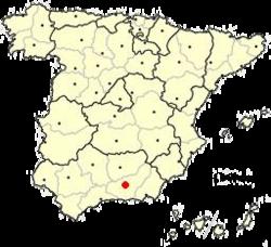 شهر گرانادا بر نقشه اسپانیا