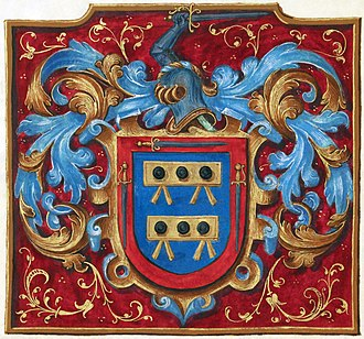 Law of heraldic arms - Illustration from a manuscript grant of arms by Philip II of Spain to Alonso de Mesa and Hernando de Mesa, signed 25 November 1566.  Digitally restored.