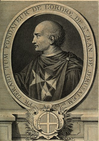 Gerard Thom, founder of the Order of Saint John of Jerusalem. Copper engraving by Laurent Cars, c. 1725. Gravure de Fra Gerard fondateur des Hospitaliers de Saint-Jean.jpg