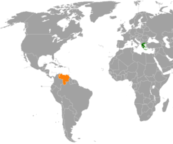 Map indicating locations of Greece and Venezuela