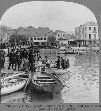 Greece–United States relations - Greek immigrants embarking in small boat for steamer for America from the port of Patras, 1910