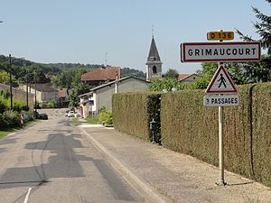 Grimaucourt-près-Sampigny (Meuse) city limit sign.jpg