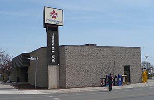Guelph Bus Terminal - Original terminal building, as seen in 2008
