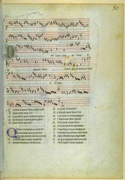 photographie d'une page enluminée avec en haut la musique et en dessous les paroles