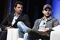 Guy Oseary and Ashton Kutcher of A-Grade speak onstage at TechCrunch Disrupt NY 2013, 3.jpg