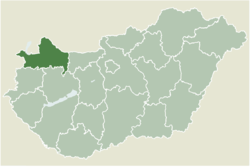 Location of Győr-Moson-Sopron county in Hungary