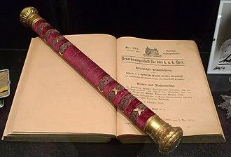 Archduke Friedrich, Duke of Teschen - Friedrich's marshal's baton at the Heeresgeschichtliches Museum.