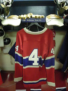 HHOF July 2010 Canadiens locker 06 (Beliveau).JPG