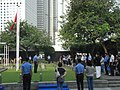 HK Central Edinburgh Place City Hall Memorial Garden 001 flags visitors 14-Oct-2012.JPG