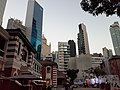 HK Central night 舊中區警署 Ex-Central Police Station 奧卑利街 Old Bailey Street footbridge 荷李活道 Hollywood Road 大館 Tai Kwun 中庭廣場 square November 2019 SS2 03.jpg