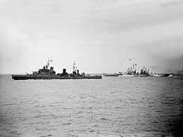 HMS Glasgow (C21) and USS Quincy (CA-71) underway off Cherbourg on 25 June 1944 (A 24309).jpg
