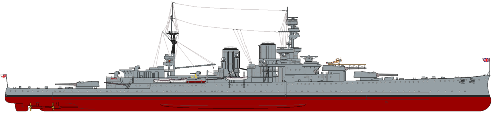 HMS Repulse (1919) profile drawing