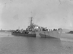 HMS Wrangler (R48) - Image: HMS Wrangler 1944 IWM FL 21789