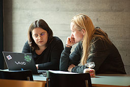 Lydia Pintscher and Lila Tretikov at the Wikimedia hackathon in Zurich, 2014, by Ludovic P (Own work) [CC-BY-SA-3.0 (http://creativecommons.org/licenses/by-sa/3.0)], via Wikimedia Commons