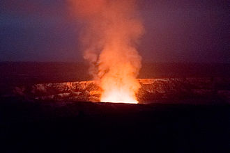 Halemaumau Crater - In March 2013, the glow from the lava lake at the bottom was clearly visible after dark