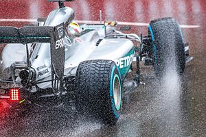 Rain tyre - Detailed view of rain tyres equipped by Lewis Hamilton at the 2016 Monaco Grand Prix