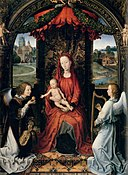 Hans Memling - Madonna Enthroned with Child and Two Angels - WGA14987.jpg