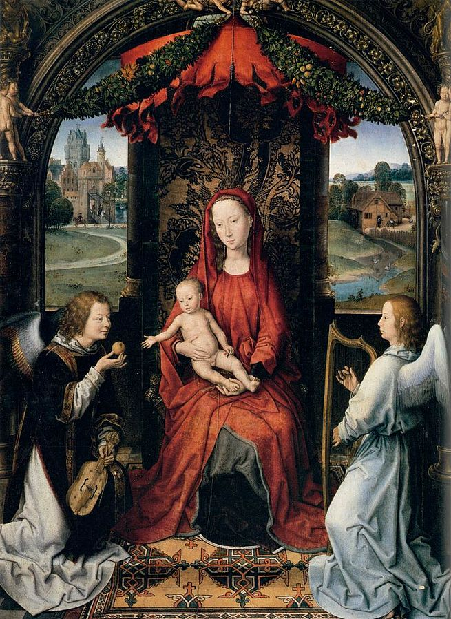 Madonna enthroned with child and two musical angels